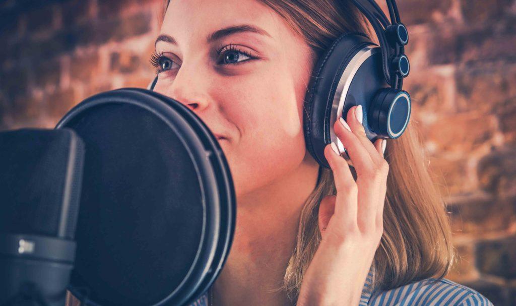 Actor Recording Arabic dubbing in studio